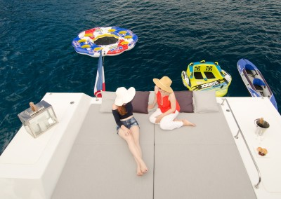 Champagne deck from above with 2 people